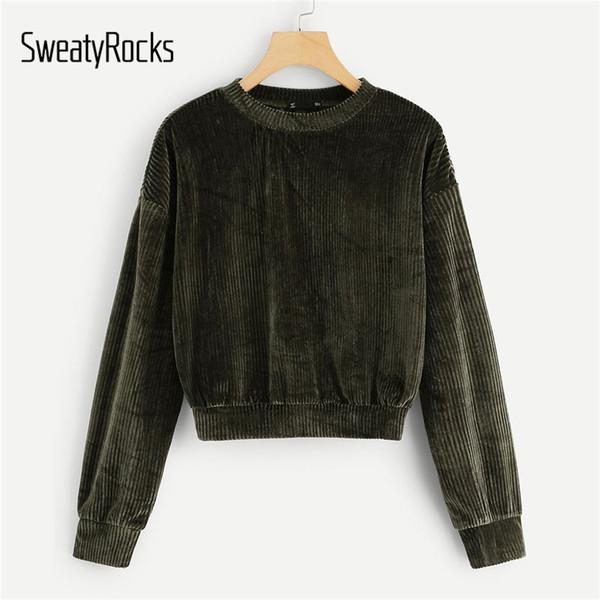 SweatyRocks Army Green Velvet nervuré Sweat à manches longues O-CRAVATE active overs Automne Femmes Sweat-shirts occasionnels