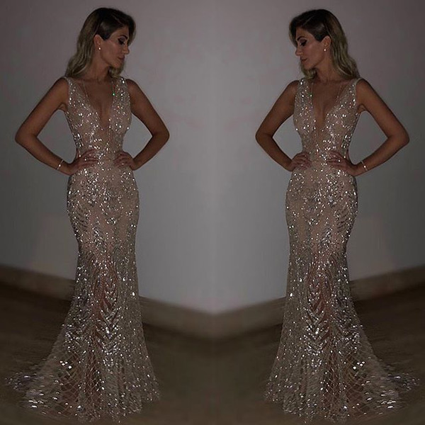 best selling Gold Silver Sexy V Neck Backless Sequin Bling Mermaid Party Dress Women Summer Bodycon Dresses Women Clothes 2019