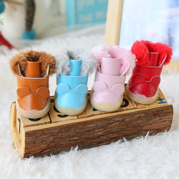 Cute Ears Fur Pet Shoes Small Dogs Boots Winter Warm Snow Foot Wear Accessories For Puppies Animals Cats Chihuahua Yorkshire
