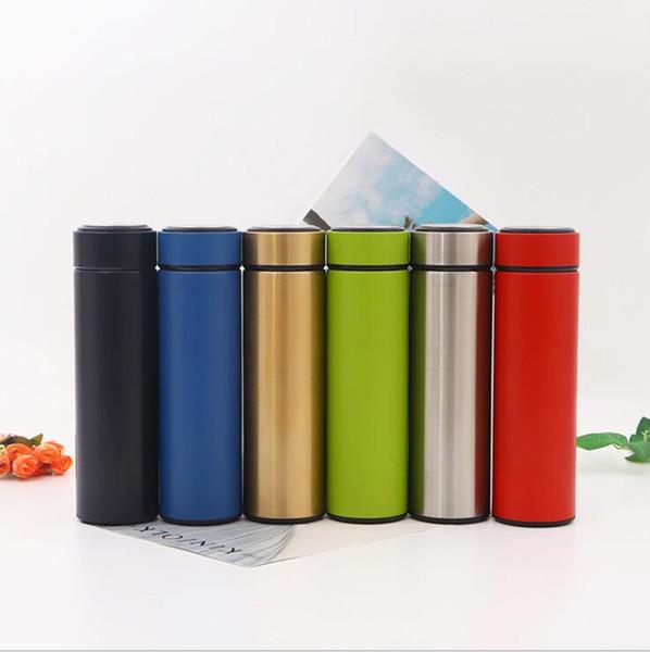 Logotipo personalizado! Copo de chá de aço inoxidável isolado 17 oz / 500 ml em linha reta Copos garrafa de água copo de beber em linha reta com tampa 6 estilos LXL173