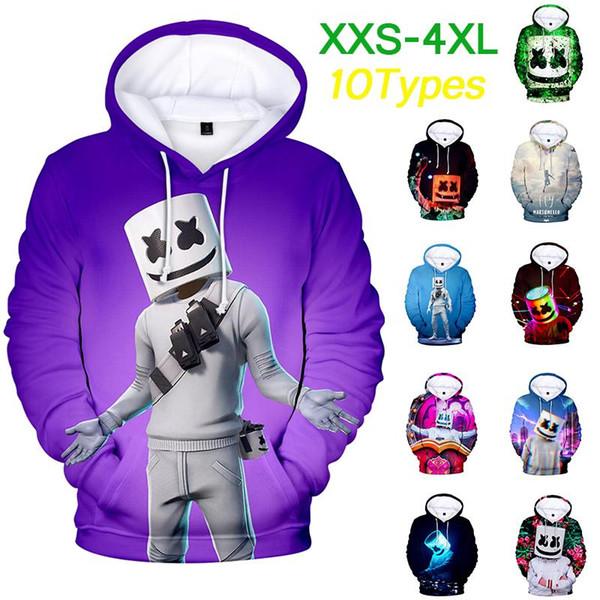 Nova vinda XXS-4XL Marshmello hoodie famoso DJ 3D cor impressa manga comprida dentro de lã Casual Pullover Hoodies camisola jaqueta Tops
