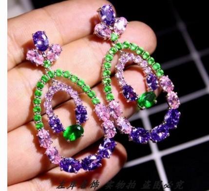 fashion low pirce high quality diamond crystal zircon 925 silver lady's earings 118er