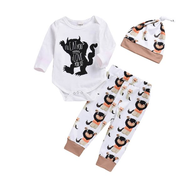 baby boys suits baby boy clothes newborn outfits Baby Infant Boy Designer Clothes long sleeve romper+harem pants+hats 3pcs A7244