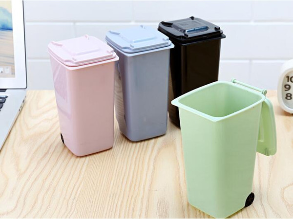 Mini Trash porta-lápis reciclagem pode Caso Tabela Pen plástico Armazenamento Bucket Stationery Sundries Organizador Ferramentas Big Mouth Toys 10 * 8 15,5 centímetros *