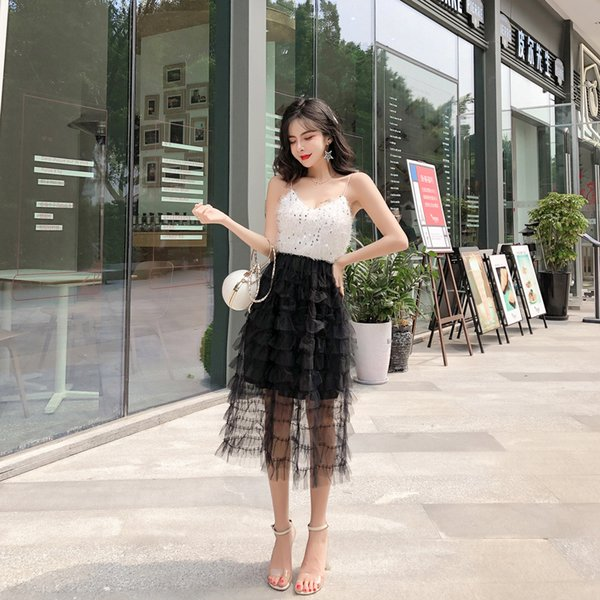 Summer 2019 New Korean Sexy Women Clothing Nightclub Wear Sling sleeveless sequined Party Evening Dress Mid-long Skirt QC0205