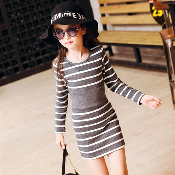 4-15Y Casual Girl Dress Spring Summer O-Neck Striped Children Party Birthday Dresses for Girls Infant Child's Wear Toddler
