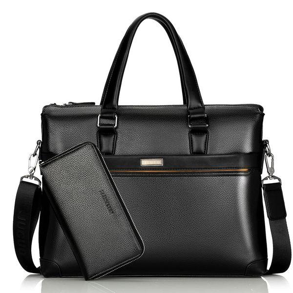 13-Zoll-Männer Umhängetasche Herren Leder Aktentasche PU-Material Männer Wasserdichte Handtaschen lässig Soild Mode Aktentasche