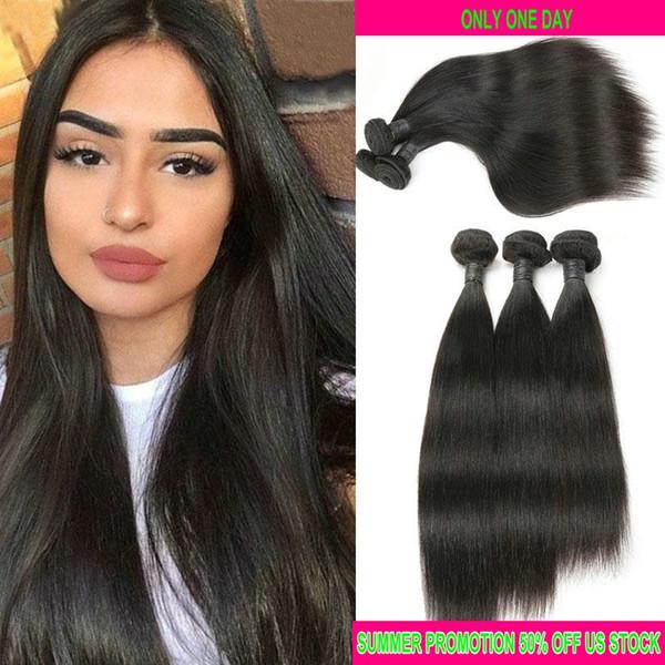 10A Grade 3 Stück Raw indisches reines Haar gerade peruanische Menschenhaar-Webart Bundles unverarbeitete brasilianische Haarbündel natürliche schwarze Farbe
