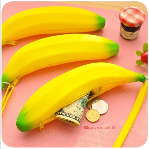 Korean version of the creative cute silicone coin purse Banana pencil bag student hand take coin bag wallet wholesale