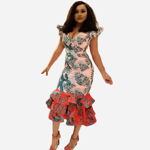 2019 лето новый стиль, модный африканский стиль, цифровая печать, v-образный вырез, юбка-волан, платье