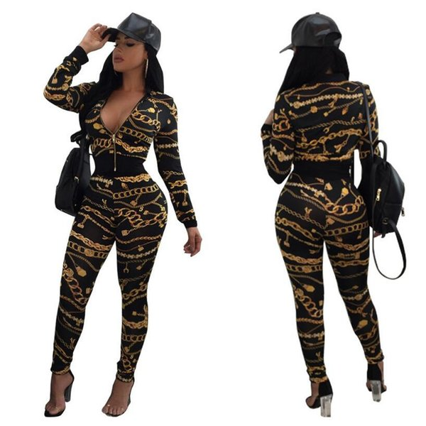 2018 Spring Femmes Tops Jacket + Pantalons 2 Piece Set Gold Chain Imprimer Survêtement Femme Costume Outfit Crop Sportive Top Zipper Sweatsuit