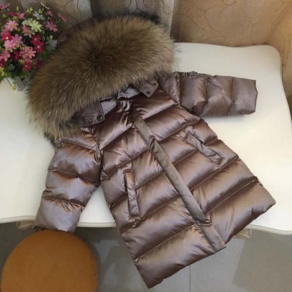 top popular 2021New Winter Children Down Jacket Toddler Baby Boys Girls Thicken Real Fur Collar Outerwear Kids Parkas Coat 2021