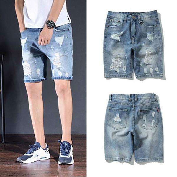 2019 Mens Designer Jeans Mens Summer Fashion Shorts Retro Old Washed Patch Mens Denim Pants Men Designer Hole Denim Shorts Blue