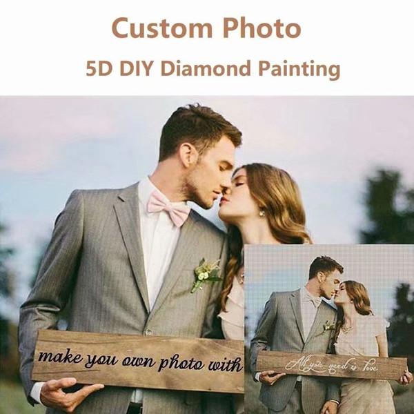 Personalizado Foto Personalizada Taladro Completo 5D Kits de Pintura Diamante Mosaico haciendo Moda Costura Artesanía kit de Bordado Hecho A Mano punto de Cruz