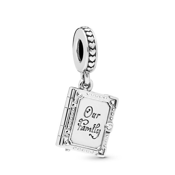 100% 925 Sterling Silver Family Book Dangle Pendant Charm Bead Fits European Pandora Jewelry Charm Bracelets