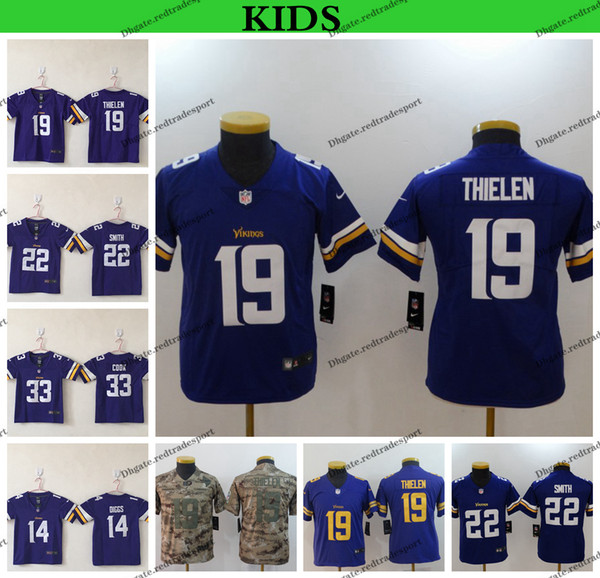 the best attitude 75a54 1ef7d 2019 Youth Minnesota Kids Vikings Camo Salute To Service Football Jerseys  19 Adam Thielen 14 Stefon Diggs 22 Harrison Smith 33 Dalvin Cook Jersey  From ...