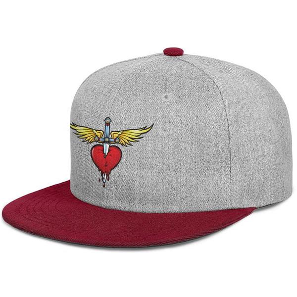 Bon jovi coração e punhal logotipo borgonha mens e mulheres snap de volta, plana brimcap beisebol projeto personalizado beisebol bonito chapéus