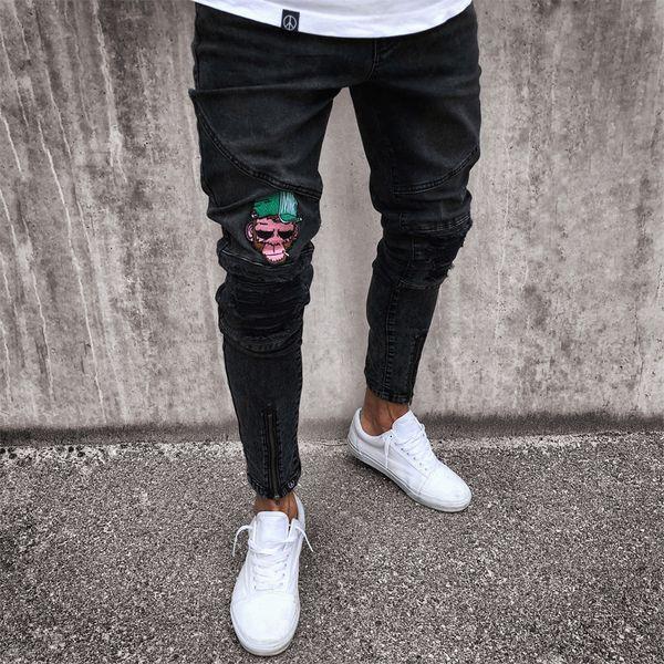 Designer Mens Jeans aderenti Nero Blu Rip Slim Fit Stretch casuale denim Street Wear Biker Jeans Hole Hip Hop Jeans S-4XL