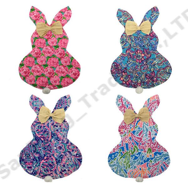 Lilly Floral Easter Bunny Flag Außendekoration 30 * 40 cm DIY Leinwand Kaninchen Ohr Hängen Flaggen Garten Banner Flag Kinder spielzeug Geschenke A22103