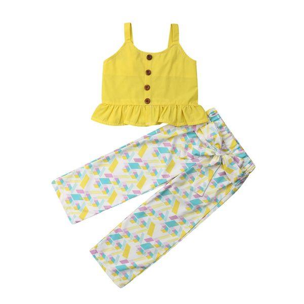 Yeni 2 Adet / takım Yaz Çocuk Kız Giyim Çocuk Fırfır Tops + Çiçek Pantolon Kıyafetler Sunsuit Giyim 1-5Yrs