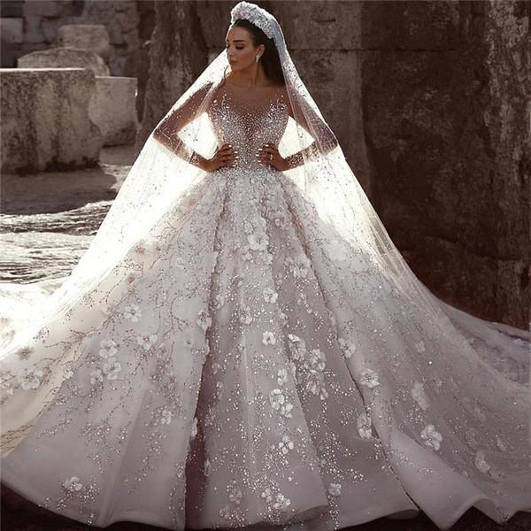Ball Gown Wedding Dresses Glamorous Luxury Dubai Arabic New Fashion Lace Long Sleeves 3D Flowers Beading Wedding Dress Bridal Gowns Custom