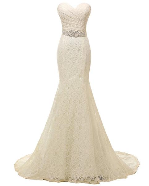 Lace Mermaid Bridal Wedding Dress Long Court Train Boho Beach Wedding Gowns with Crystal Beaded Belt Sash Plus Size vestido de casamento