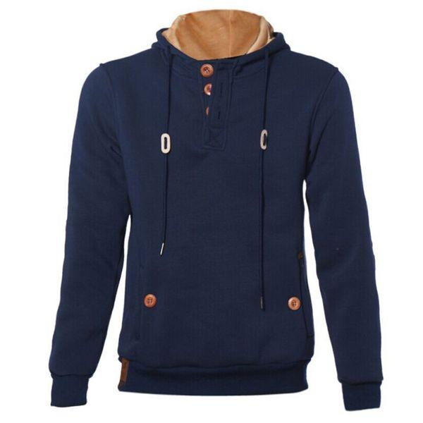 Winter Autumn Men Cotton Long Sleeve Hoodie Warm Round Collar Hooded Elbow Pad Style Sweatshirt Jacket Coat(XL,White)
