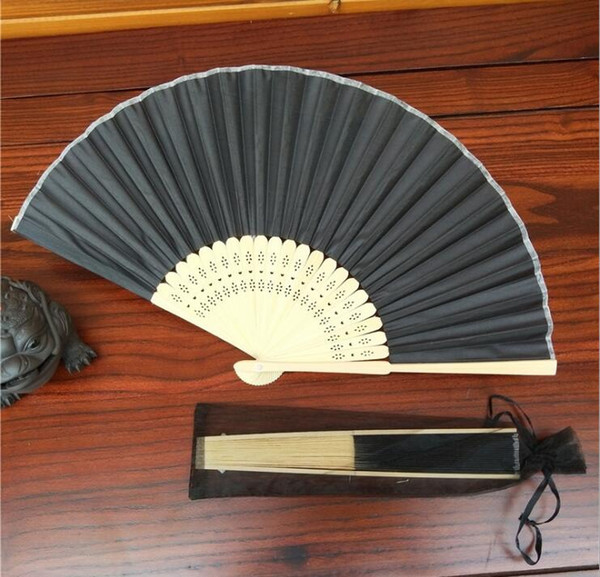 Personalized Laser-Cut name &date Luxurious Silk hand Fan Gift as wedding Gift with organza bag in 25colors available
