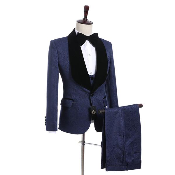New Style Groom Tuxedos One Button Groomsmen Shawl Black Lapel Best Man Suit Wedding/Men Suits Bridegroom ( Jacket+Pants+Vest+Tie ) A50