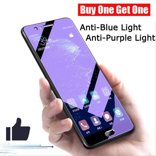Анти-синий свет закаленное стекло для iPhone XS MAX XR X 6 7 8 Plus Защитные пленки купить один получить один 2шт пакет
