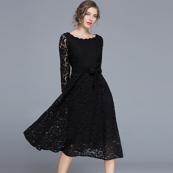 2017 de alta qualidade inverno mulheres vestidos de renda do vintage sexy vestidos de festa com barra de pescoço elegante preto branco plus size mulheres dress clothing