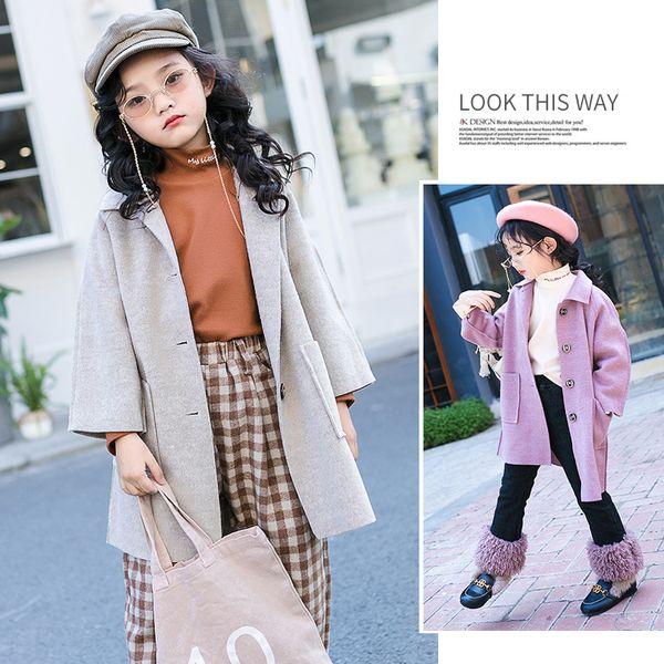 Little Girls Long Coat Spring 2019 Kids Girls Trench Coat Children Jacket Overcoat Fashion Winter Clothes Purple Apricot