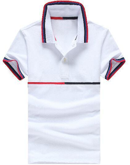 Factory US Brand Men Classic Polo Shirts Middle Striped Cotton Polos Short Sleeve Sport Racing Tshirt Tees Tops White Gray Size M-XXL
