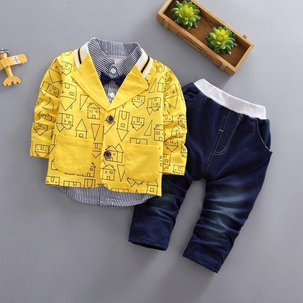 vêtements pour enfants en bas âge garçons vêtements 3 pièces / ensemble enfants version coréenne automne vêtements maison imprimer veste + t-shirt + jeans costume