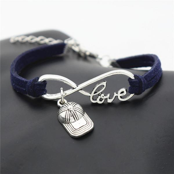 Hot Sale Handmade Navy Leather Suede Rope DIY Bracelets Bangles Infinity Love Hip Hop Baseball Cap Hat Sports Pendant Women Men Jewelry Gift