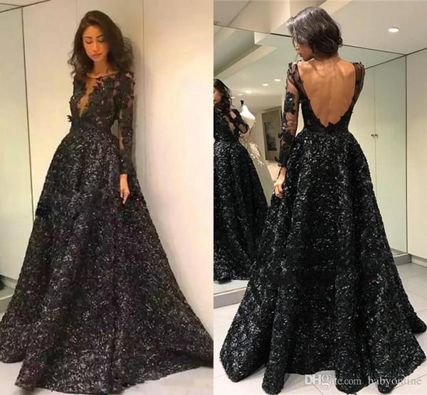 Vintage Black Long Sleeves Evening Prom Dresses Formal Beautiful Rose Flowers Sheer Jewel Neck V Backless Long Vestidos de fiesta Gothic