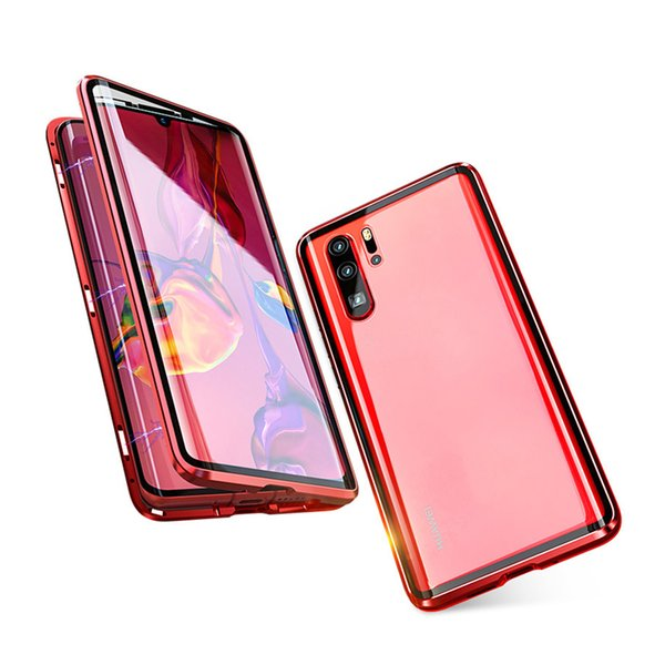 Full Cover for Huawei P30 Pro Magnetic Adsorption Tech Case Magnets Aluminum Frame High Sensetivity Dual Curved Tempered Glass