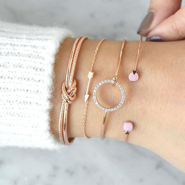 Regalos del día de Boho pulseras de nudo Flecha set de 4 multicapa ajustable de joyería abierto en partido de las mujeres pulsera de cristal Accesorios de navidad de la madre