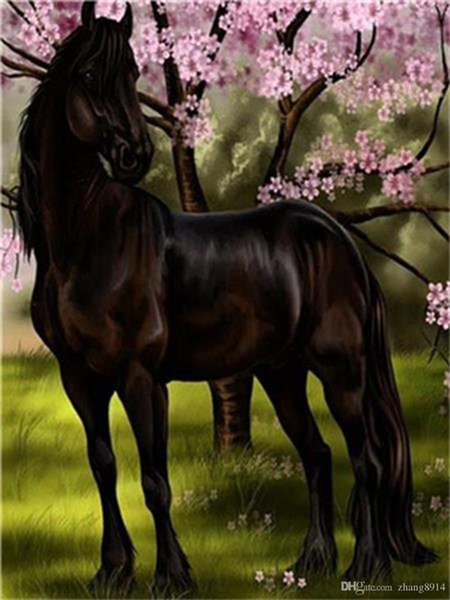 16x20 inches Handsome Black Brown Horse Standing in The Park among the Flowers DIY Paint By Numbers Kits On Canvas Art Acrylic Oil Pain