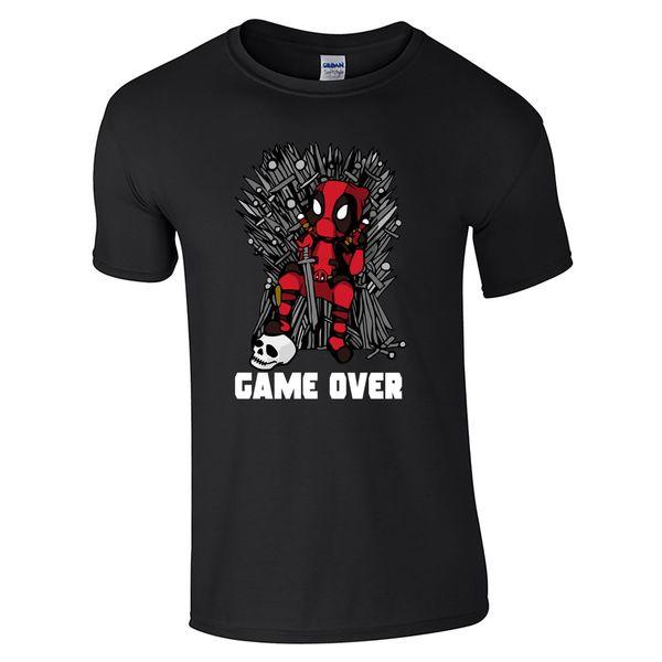 Game Over Character T-Shirt - Cartoon Wade Wilson Iron Throne Game of Fan Top summer Hot Sale, New Tee Print ,Men T-Shirt Top,