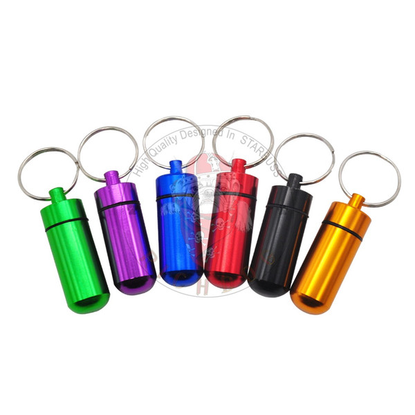 Aluminum Alloy Metal Tobacco Herb Box Pill Bottle Case Container Smoking Herb Stash Jar Airtight Smell Proof 6ML Spice Storage Box Key Chain