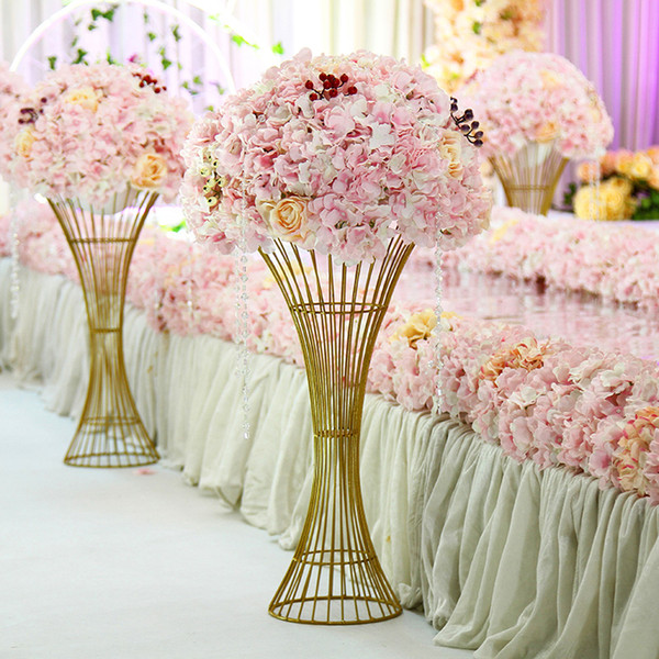 Wedding props wrought iron small waist ornaments table centerpieces flower stand twisted road guide flower vase gold white