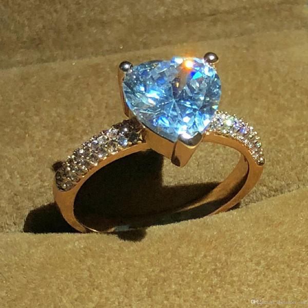 Go888Store Luxo 18 K Rose cor de ouro Jóias 925 Anel de Prata para As Mulheres Coração Romântico 2 Carat Simulado de Noivado De Diamante Anéis De Casamento