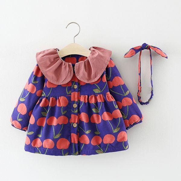 Bambini Autunno Inverno Manica Lunga Neonati Ragazze Bambini Stampati Cherry Velvet Princess Party Dress Abiti + hairband S7480 J190614