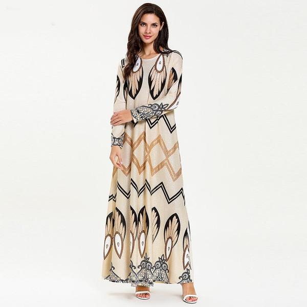 7728 Abaya Muslimisches Kleid Marokkanischer Kaftan Dubai Abend Prom Muslimische Arabische Kleider Modest Print Dress