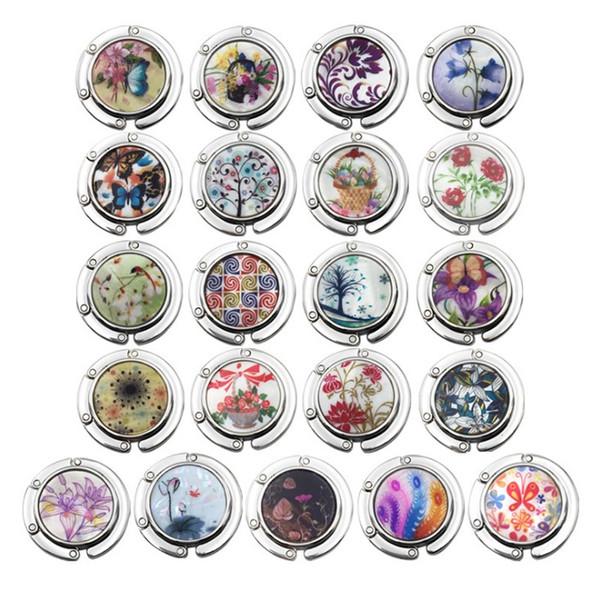 Many Colors Portable Folding Rhinestone Metal Crystal Alloy Purse Handbag Bag Hanger Hook Holder Newest Fashion 18 Colors