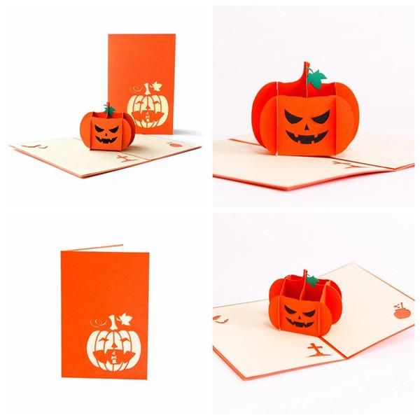 Compre Enojado Calabaza De Halloween 3d Hasta Tarjeta De Invitación Tarjeta De Felicitación A 35 42 Del Hymen Dhgate Com