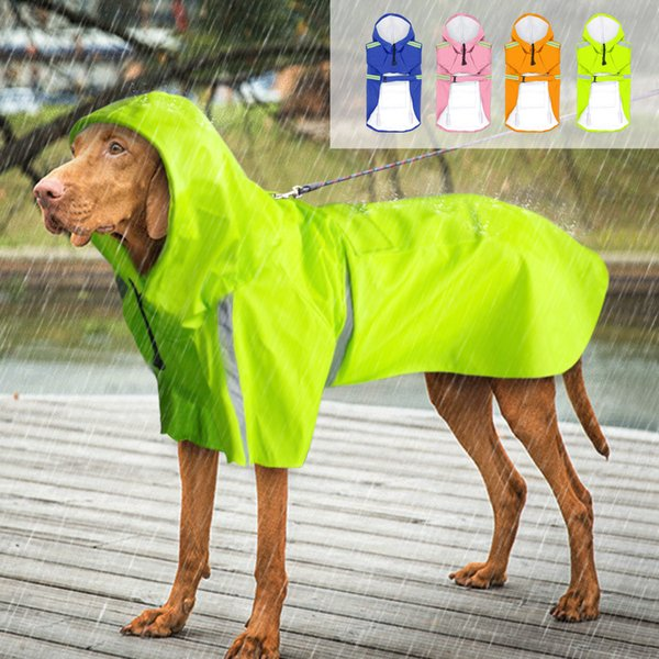 Светоотражающий плащ для собак Водонепроницаемый дождевик Пончо с кармашком для поводка для маленьких средних домашних животных Зеленый Синий Оранжевый Розовый Q190603