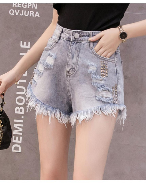 Casual Women High Waist Beaded Denim Shorts Pants 2019 Newest Summer Korean Fashion Tassel plus size Sexy Short Jeans Hot pants