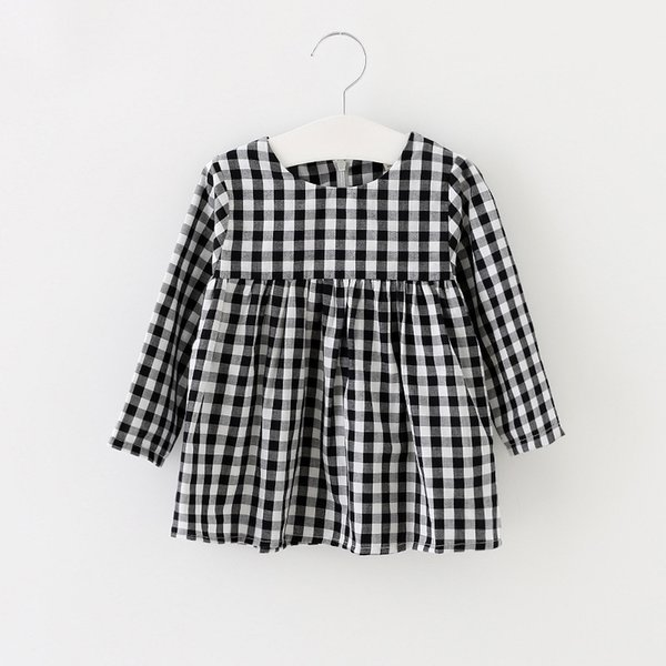 fashion 2017 spring autumn plaid baby girls dress long sleeve cotton kids dresses for girls princess dress party dance clothes